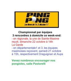 Association Sportive Maximoise de Tennis de Table - Programme du week-end