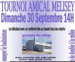 Tournoi amical Double à la mêlée 30 Septembre