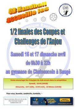 L'OB HANDBALL ACCUEILLE LES 1/2 FINALES COUPE ET CHALLENGE DE L'ANJOU