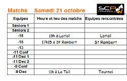 Matchs samedi 21 oct