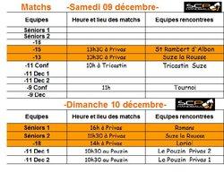 Matchs samedi 09 et dimanche 10 dec