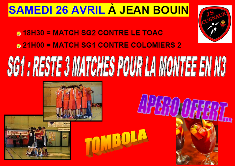 MATCHES 23 - 26 & 27 AVRIL