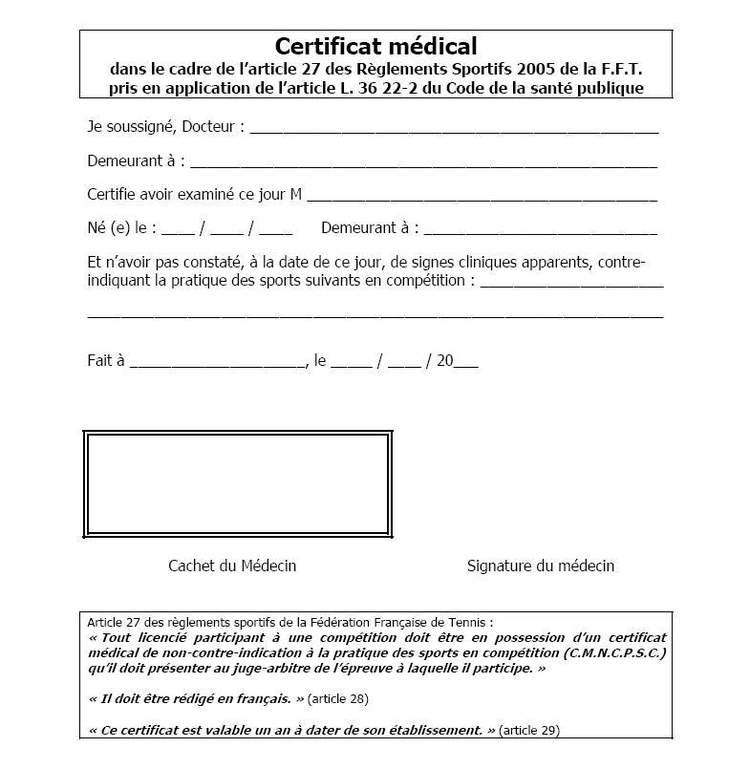 modele certificat aptitude sport