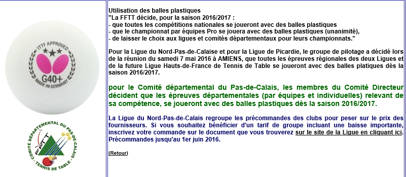 Info fftt ligue comite club tennis de table club - Ligue nord pas de calais tennis de table ...