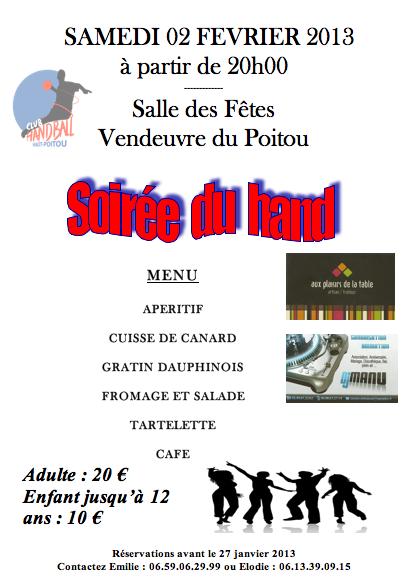 Soirée du Hand 2 fév 2013 Vendeuvre
