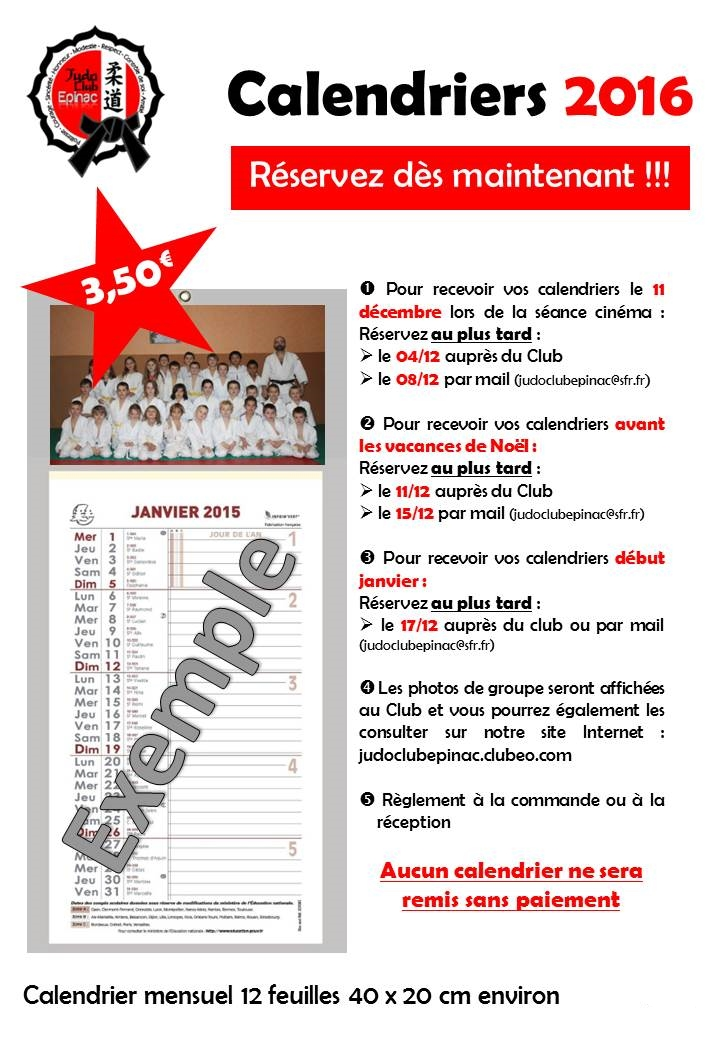 Calendriers 2016