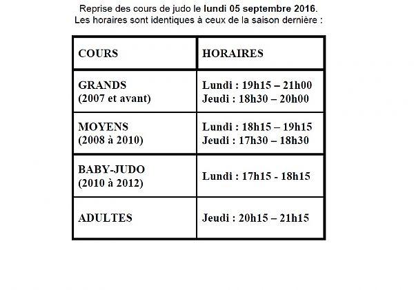 Horaires Cours de Judo 2016-2017