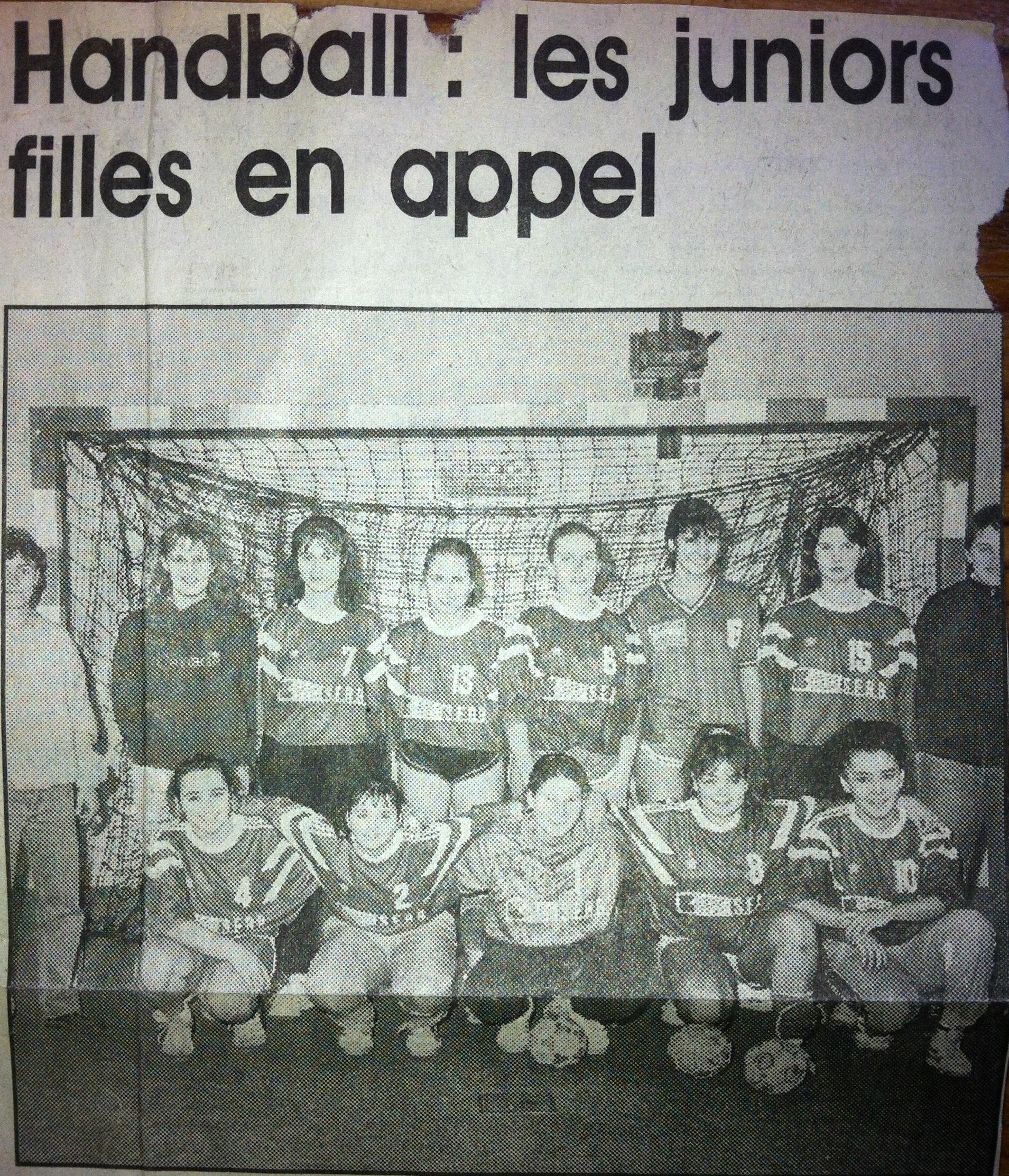 Equipe Junior Filles Apt Handball 1992