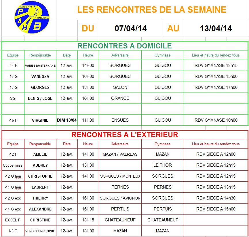 Planning de la semaine du 07 au 13 Avril 2014