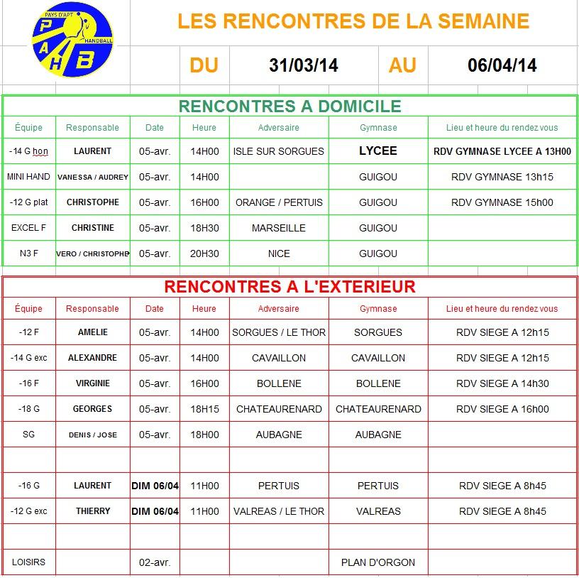 Planning de la semaine du 31 Mars au 06 Avril 2014