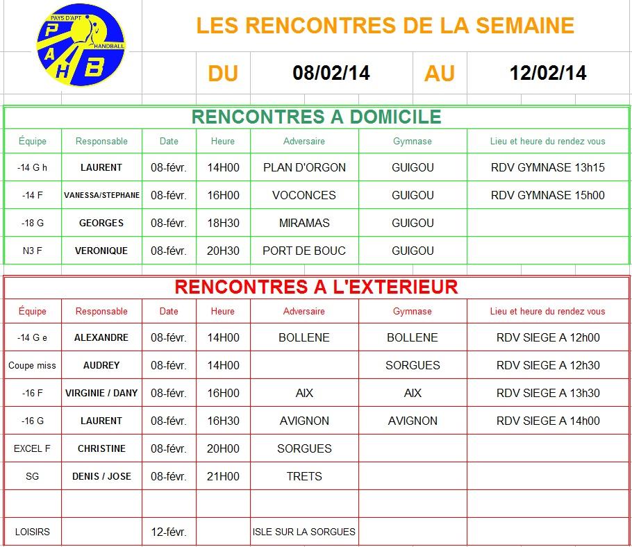 Planning week-end du 08 et 09 Février 2014
