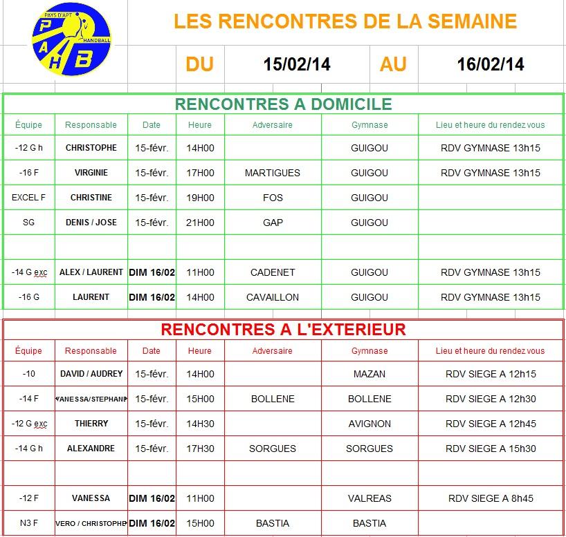 Planning week-end du 15 et 16 Février 2014