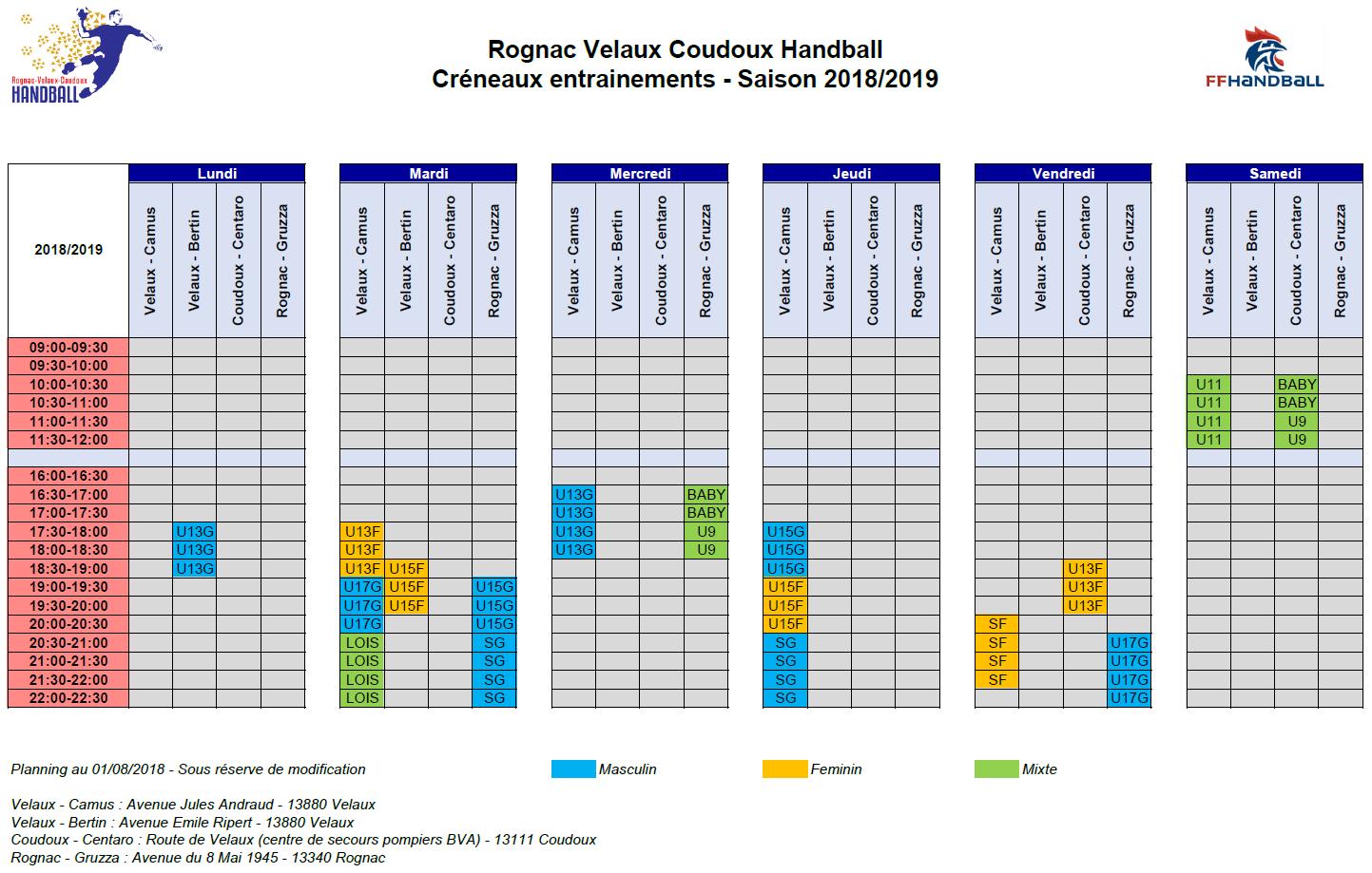 créneaux entrainement RVCH 2018 2019