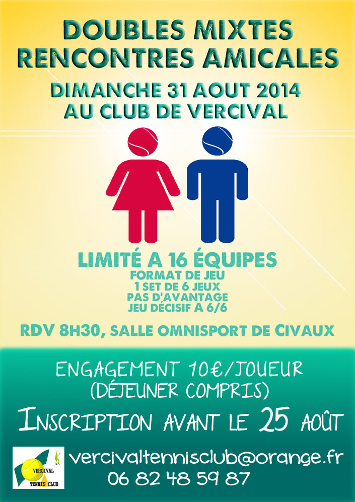 Actualit tournoi double mixte 2014 club tennis for Club de tennis interieur saguenay