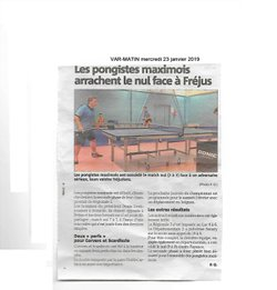 Tennis de Table Sainte-Maxime - Var-Matin du 23/01/19