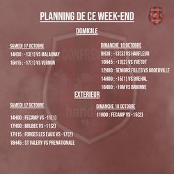 Le programme des matchs de ce week-end !