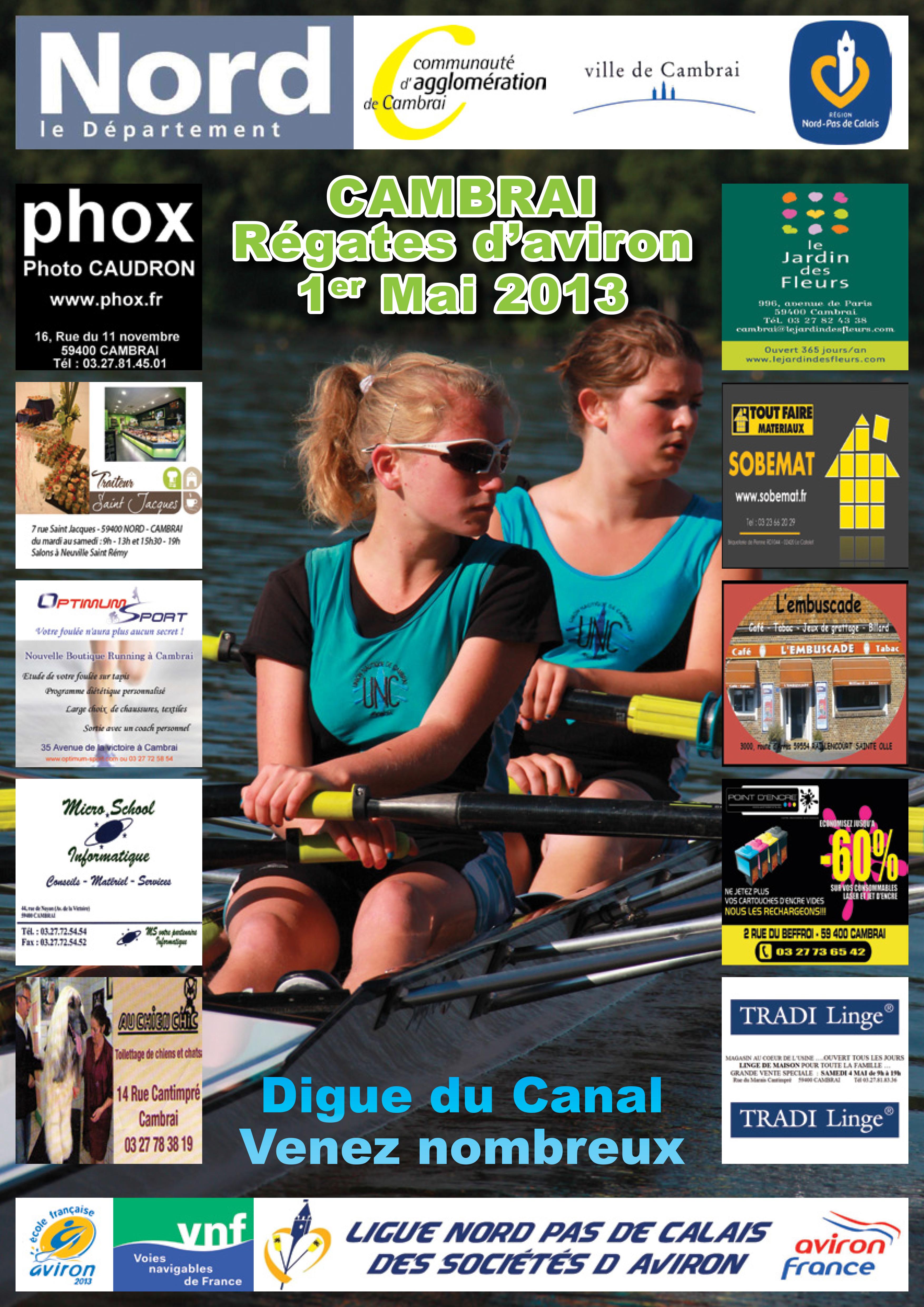 Affiche Régate Aviron Cambrai 2013