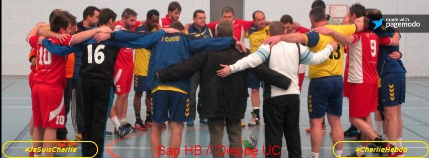 Minute de silence respecter avant le match opposant le Sport Aventure Passion Handball Duclair - Le Trait face au Dieppe UC.
