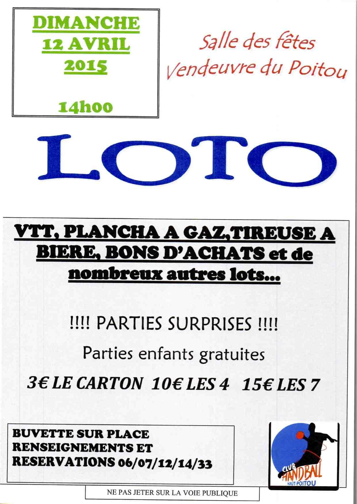 Affiche loto 12 avril 2015 Vendeuvre du Poitou