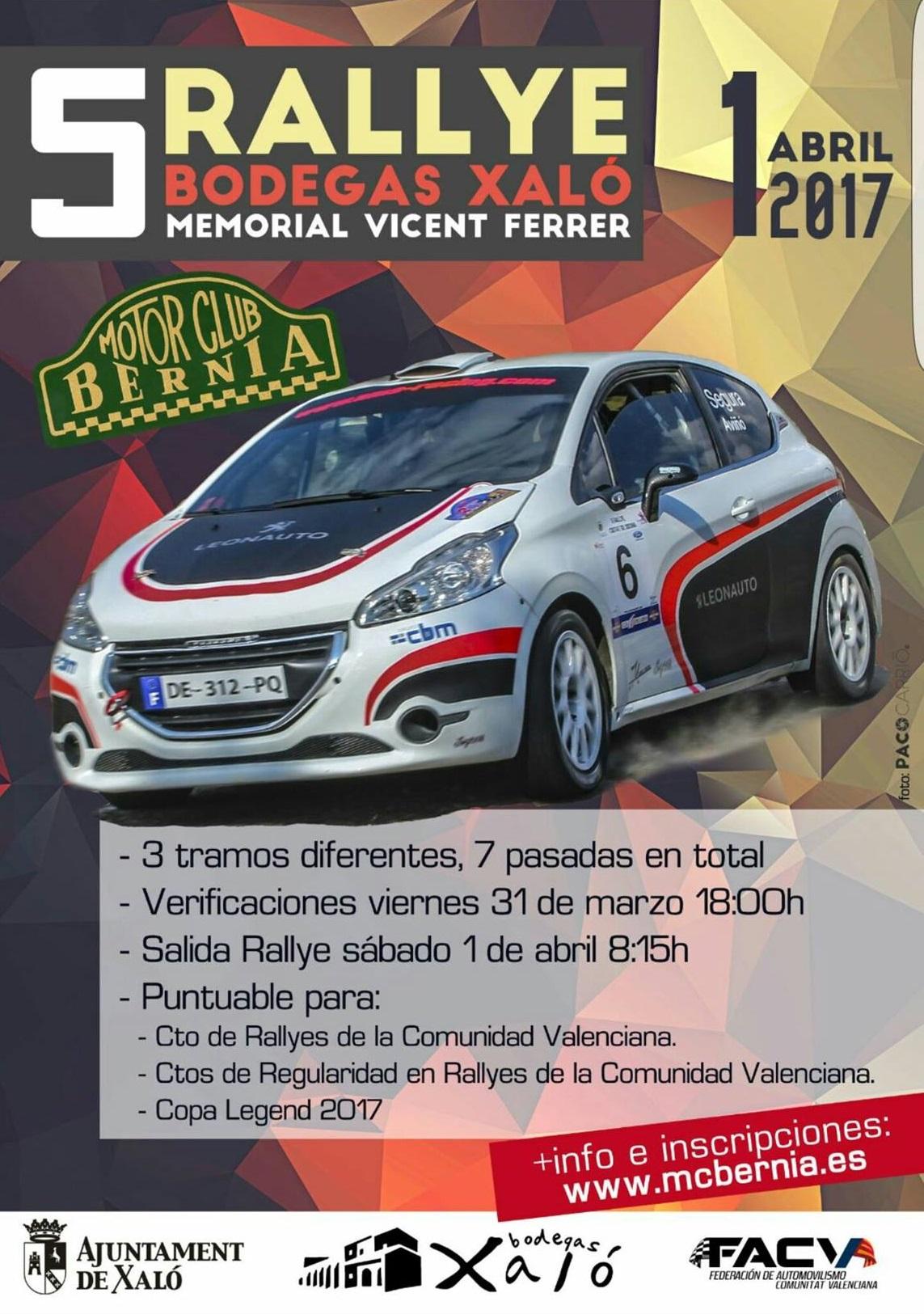 Cartel del Rallye Bodegas Xaló 2017