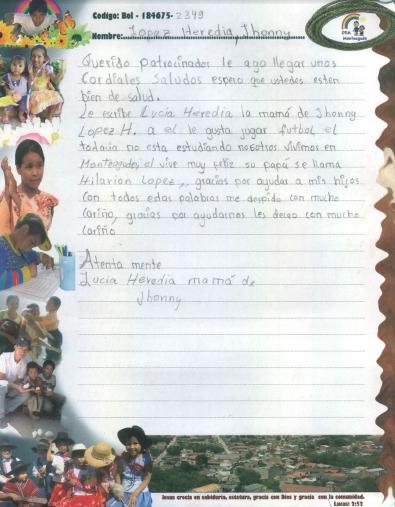 1ère lettre de Jhonny