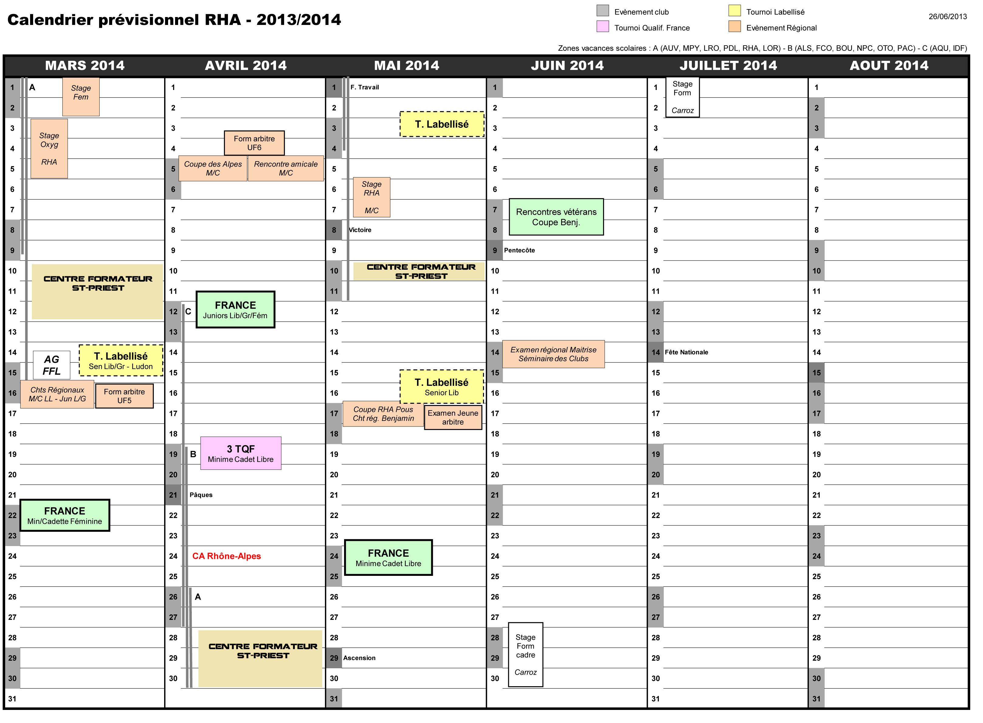 Calendrier RHA 2013-14 2
