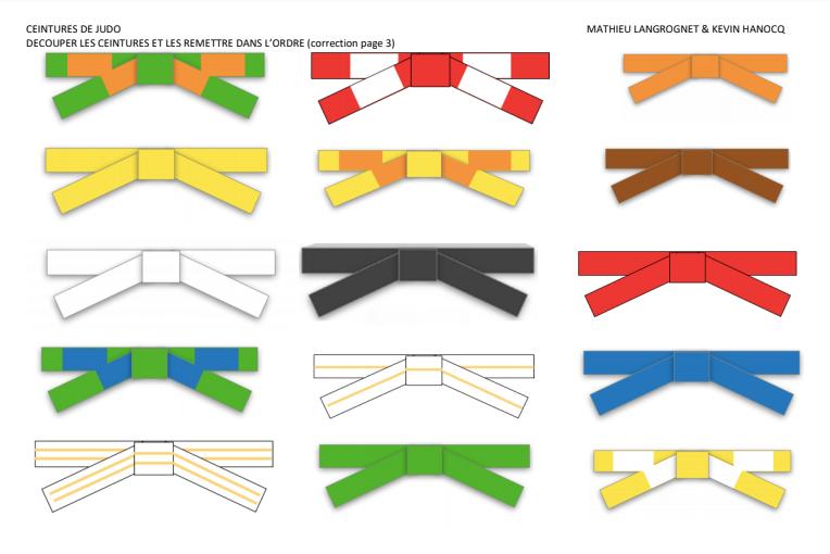Coloriage ceintures judo