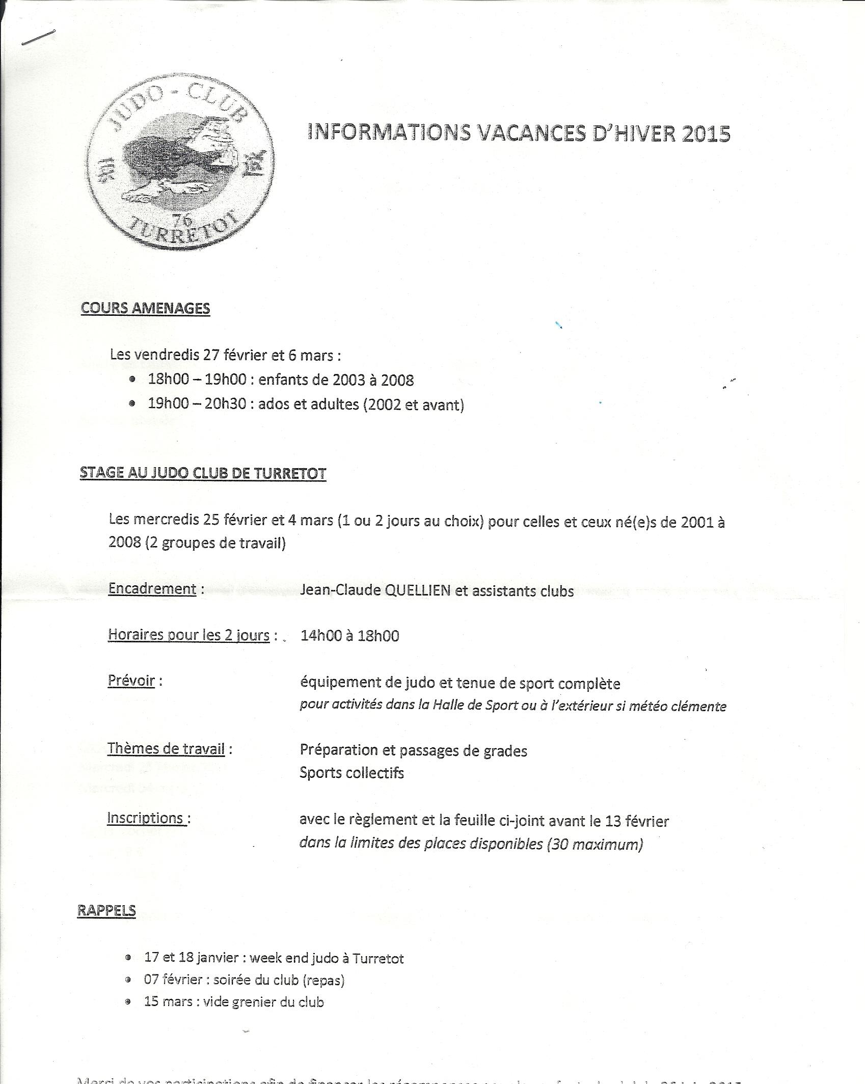 information vacances d'hiver février 2015