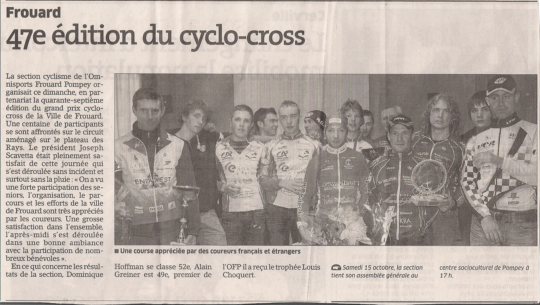 Article de Presse - L'Est Républicain Du 12 Octobre 2011