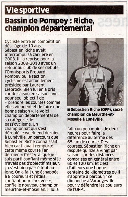 >>>Article Sébastien Riche Champion Départemental