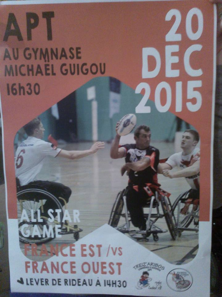 Rugby Fauteuil au gymnase Michael GUIGOU du Pays d'Apt le Dimanche 20 Décembre 2015
