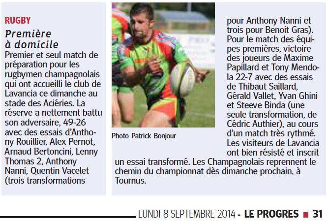 Le Progrès - 08/09/2014