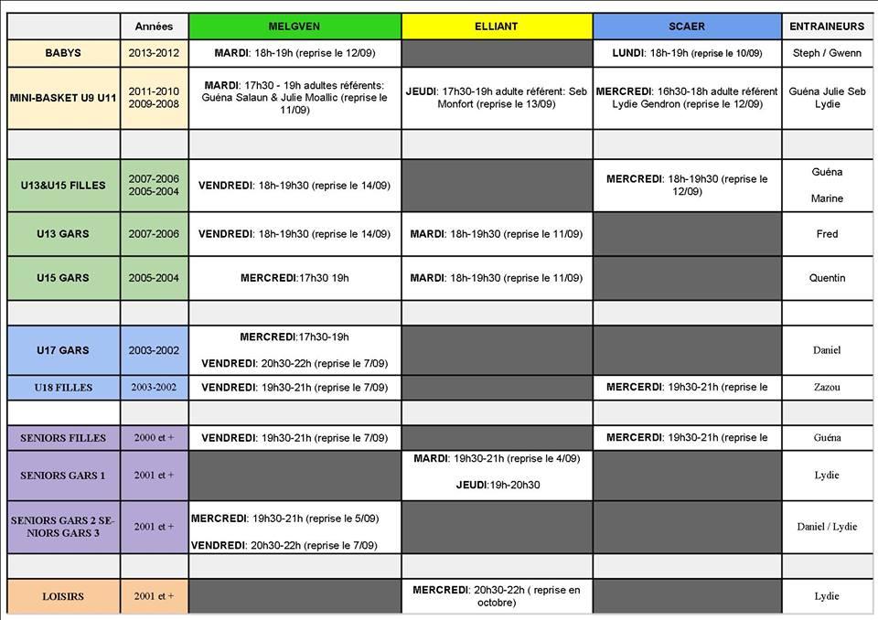 planning entrainements