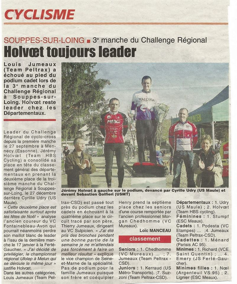 article de la REP 77 cyclo-cross FFC du 27 dec 2015
