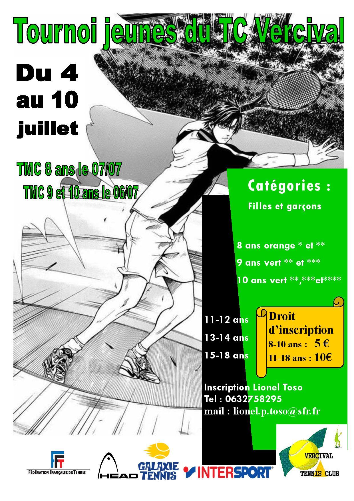 Affiche Tournoi Jeune VERCIVAL Juillet 2015
